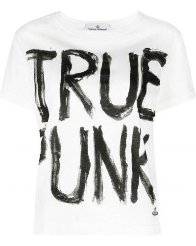 Прямая хлопковая белая футболка Vivienne Westwood Anglomania