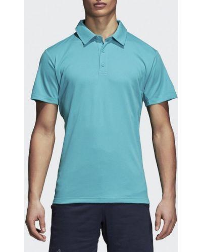 Голубое поло с коротким рукавом Adidas
