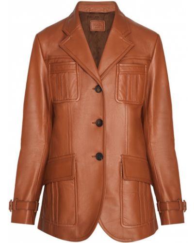 Прямая коричневая кожаная куртка Prada