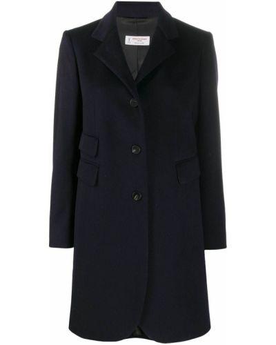 Однобортное синее длинное пальто с карманами Alberto Biani