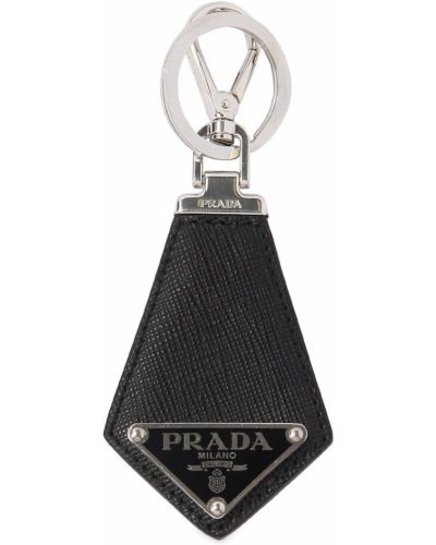 Czarny łańcuszek srebrny Prada