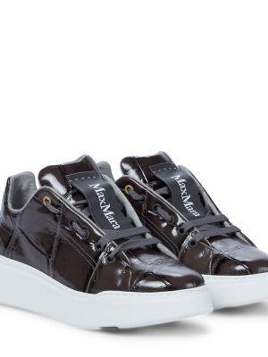 Szare sneakersy na platformie skorzane Max Mara
