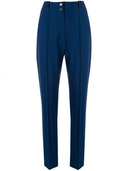 Niebieskie spodnie z wysokim stanem bawełniane Plein Sud