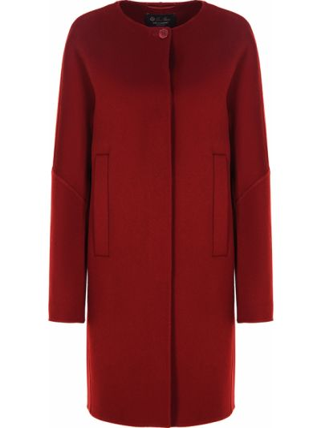Красное пуховое пальто на пуговицах с вырезом Loro Piana