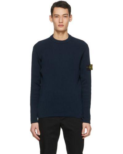 Z rękawami czarny długi sweter z kołnierzem Stone Island