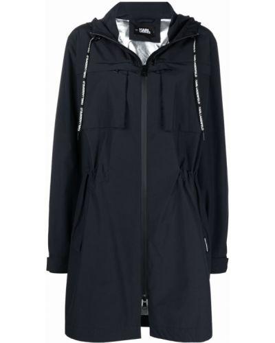 Niebieski długi płaszcz z kapturem bawełniany Karl Lagerfeld