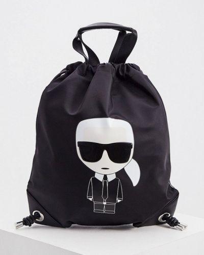 Черный текстильный рюкзак Karl Lagerfeld