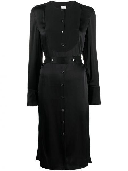 Шелковое черное платье макси с поясом Paul Smith