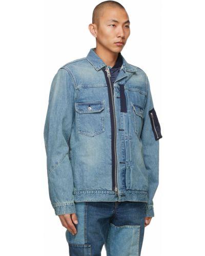 Niebieskie jeansy srebrne z długimi rękawami Sacai
