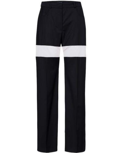 Шерстяные прямые черные брюки Mugler