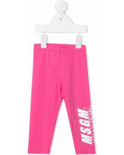 Розовые леггинсы с поясом Msgm Kids