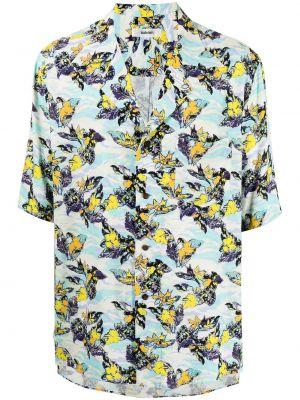 Niebieska koszula krótki rękaw z printem Sulvam