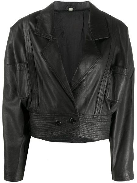 Черная кожаная короткая куртка двубортная A.n.g.e.l.o. Vintage Cult