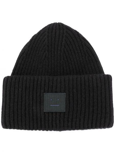 Czarna czapka wełniana z haftem Acne Studios