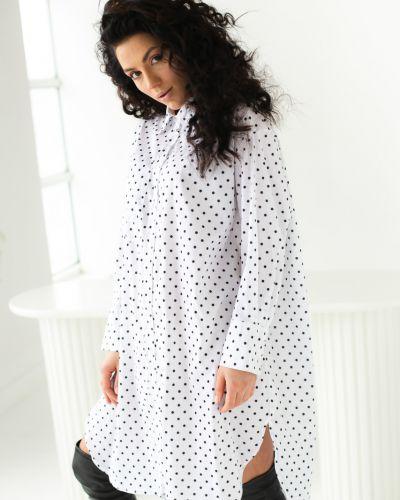 Белое платье рубашка в горошек с длинными рукавами Clew