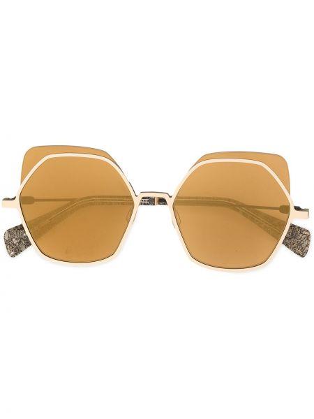 Złote okulary oversize Yohji Yamamoto