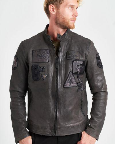 Кожаная куртка на молнии - серая Aeronautica Militare