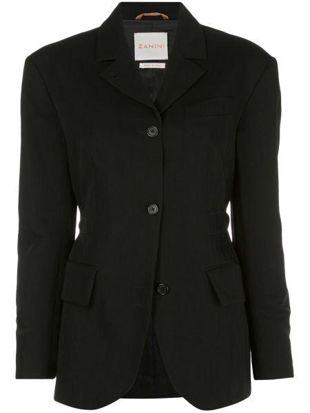 С рукавами черная куртка с воротником Zanini