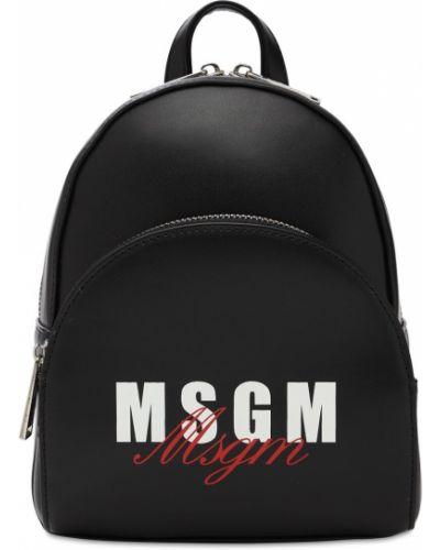Czarny plecak skórzany Msgm