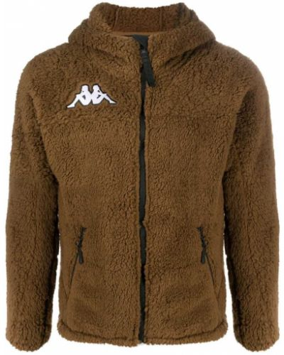 Прямая коричневая классическая куртка с капюшоном с декоративной отделкой Kappa