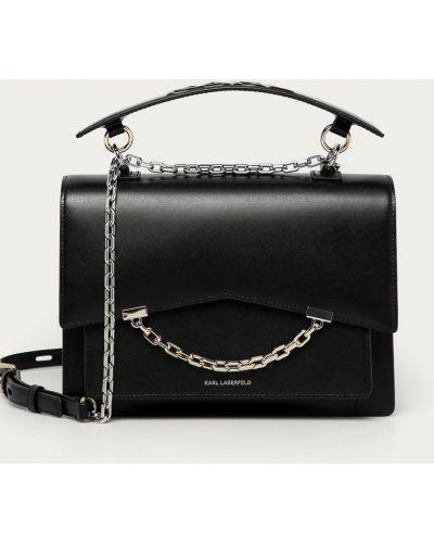 Czarna torba z krótkimi uchwytami skórzana Karl Lagerfeld