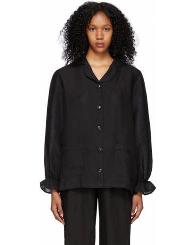 Lniana czarna koszula z długimi rękawami Le Petit Trou