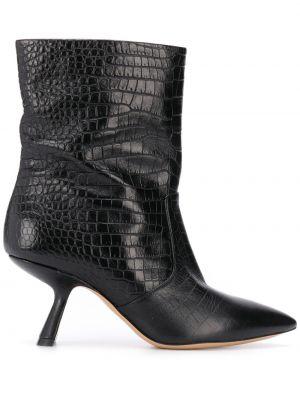 Czarny buty na pięcie z ostrym nosem na pięcie z prawdziwej skóry Nicholas Kirkwood