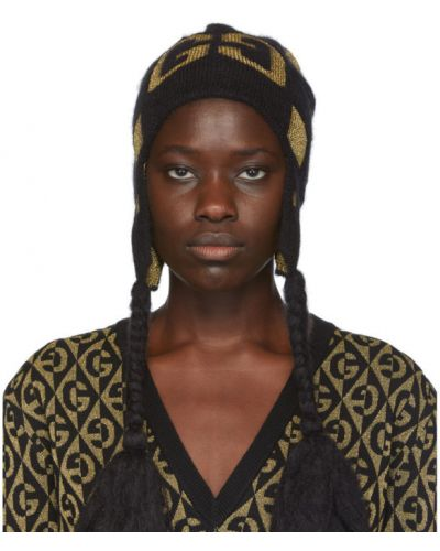 Шерстяная черная шапка бини Gucci
