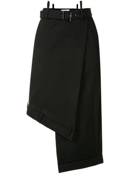 Шерстяная черная юбка с запахом с карманами Delada