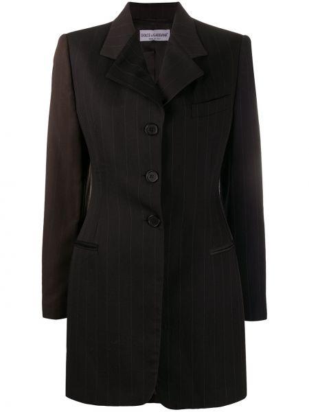 Коричневая прямая куртка на пуговицах с подкладкой Dolce & Gabbana Pre-owned