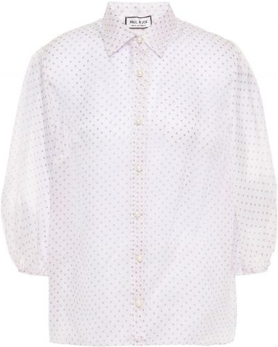 Шелковая белая рубашка прозрачная Paul & Joe