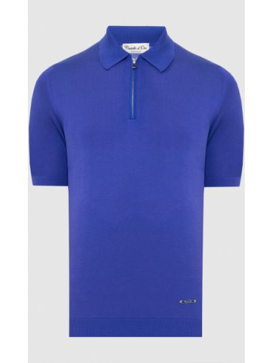 Шелковый поло - синий Castello D'oro