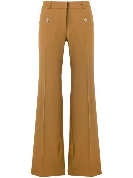 Brązowe spodnie z jedwabiu Carven