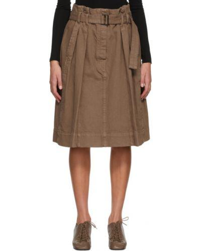 Brązowy dżinsowa spódnica z paskiem Lemaire