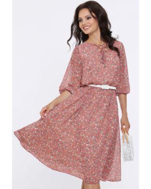 Платье с поясом с декольте на шнуровке Dstrend