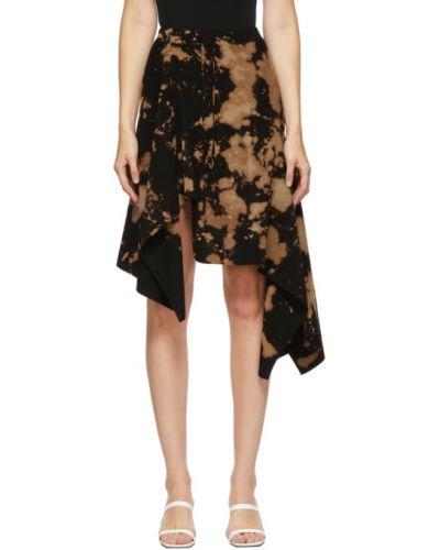 Черная асимметричная юбка с драпировкой из вискозы Marques Almeida