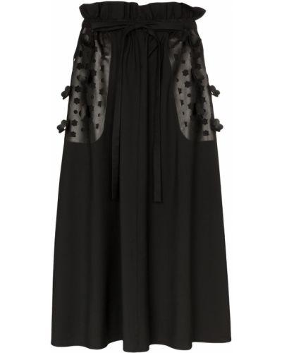 Плиссированная черная юбка миди с карманами в рубчик Paskal