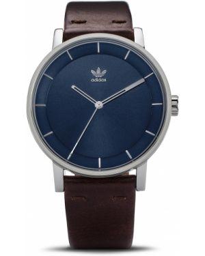 Brązowy sport zegarek srebrny do pracy Adidas