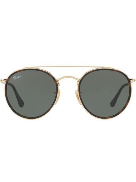 Прямые желтые солнцезащитные очки круглые металлические Ray-ban