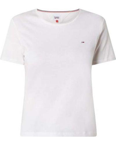 Biały bawełna bawełna koszula jeansowa z dekoltem Tommy Jeans