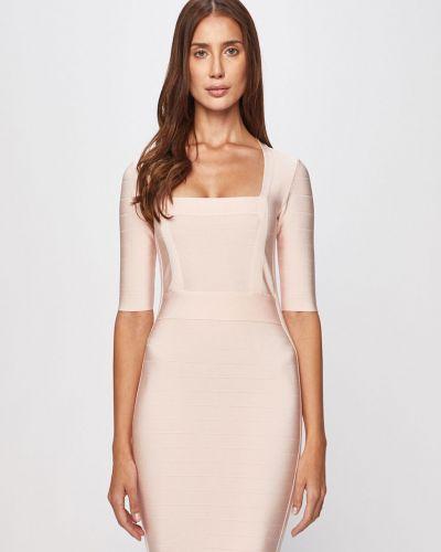Приталенное розовое платье закрытое Marciano Guess