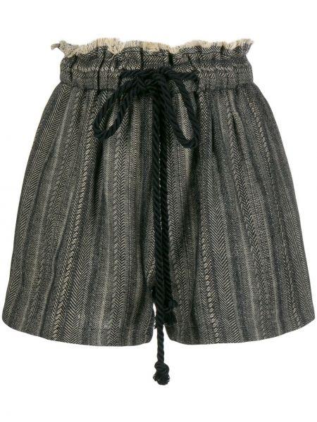 С кулиской льняные черные короткие шорты Forte Forte