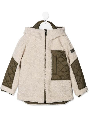 С рукавами бежевая длинная куртка с бриллиантом Il Gufo