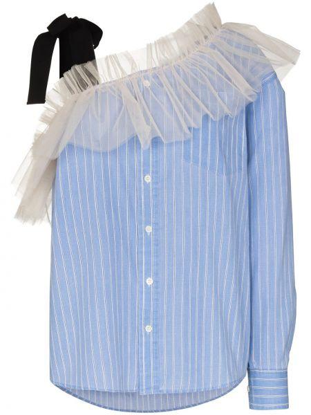 Асимметричная белая блузка с длинными рукавами Viktor & Rolf