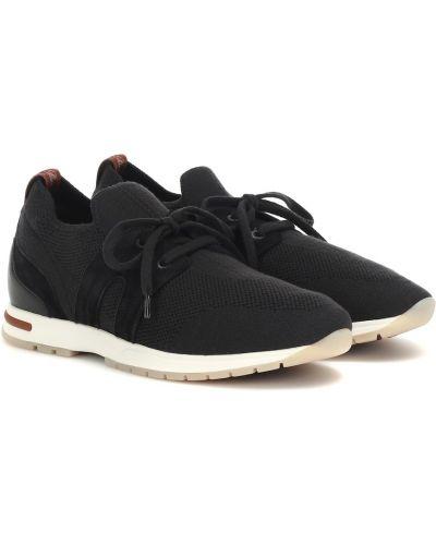 Повседневные текстильные черные кожаные кроссовки Loro Piana
