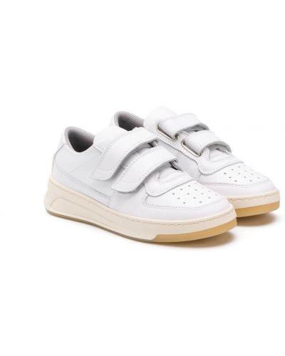 Кожаные белые кроссовки с перфорацией Acne Studios Kids