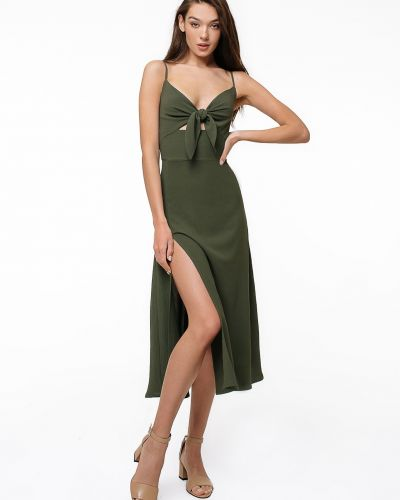 Зеленое платье на бретелях с завязками Magnetic
