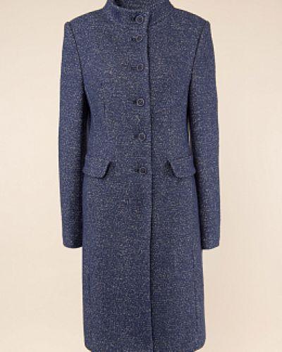 Синее шерстяное пальто классическое с воротником синар