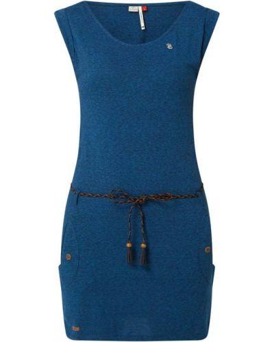 Niebieska sukienka bawełniana z paskiem Ragwear