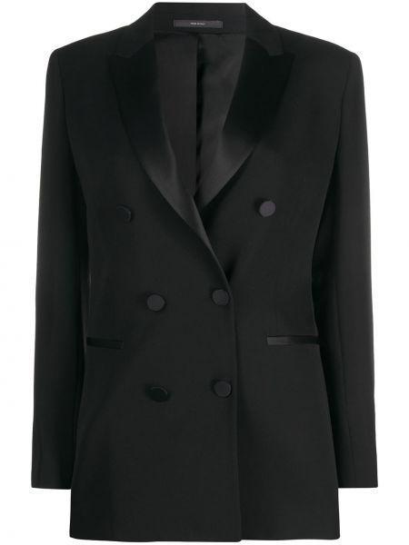 Черный приталенный пиджак двубортный Paul Smith